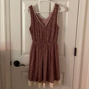 Double Zero mauve dress with cream dots S